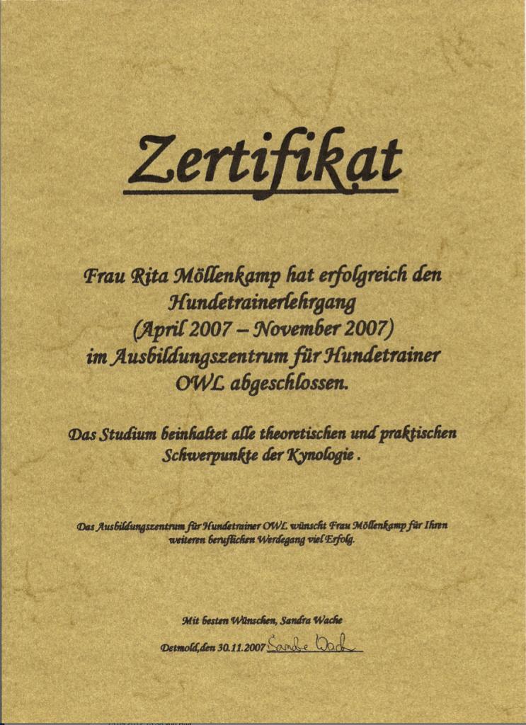Zertifikat der Ausbildung von Hundetrainerin Rita Möllenkamp