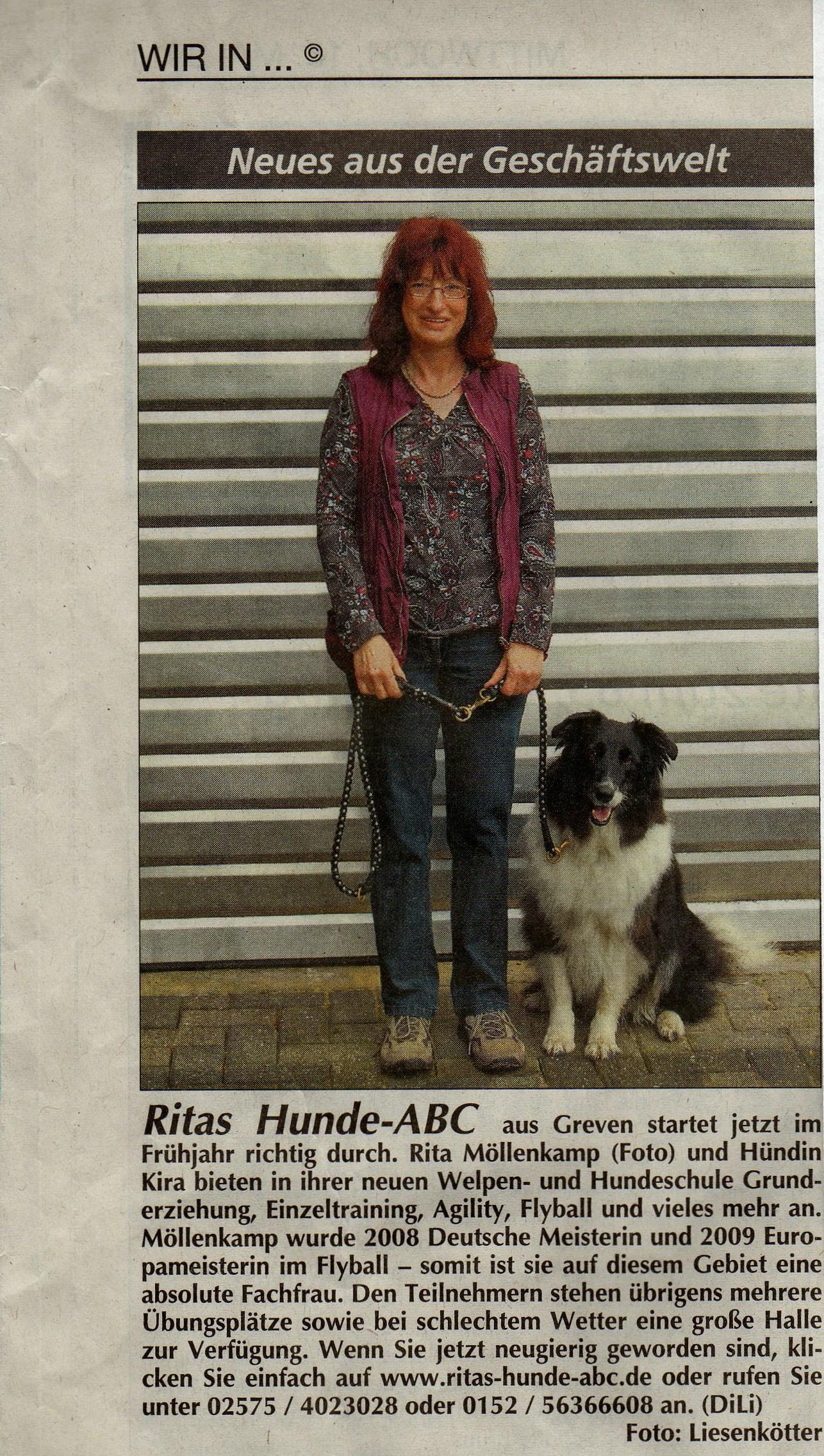 Zeitungsartikel über Rita Möllenkamp