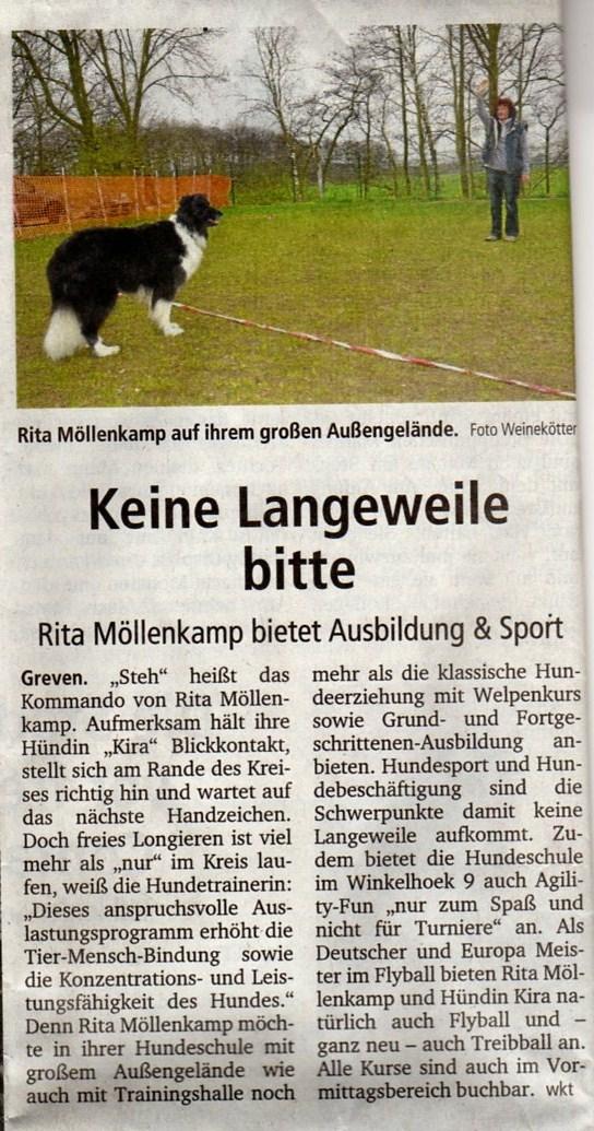 Die Hundeschule Ritas Hunde ABC in der Zeitung