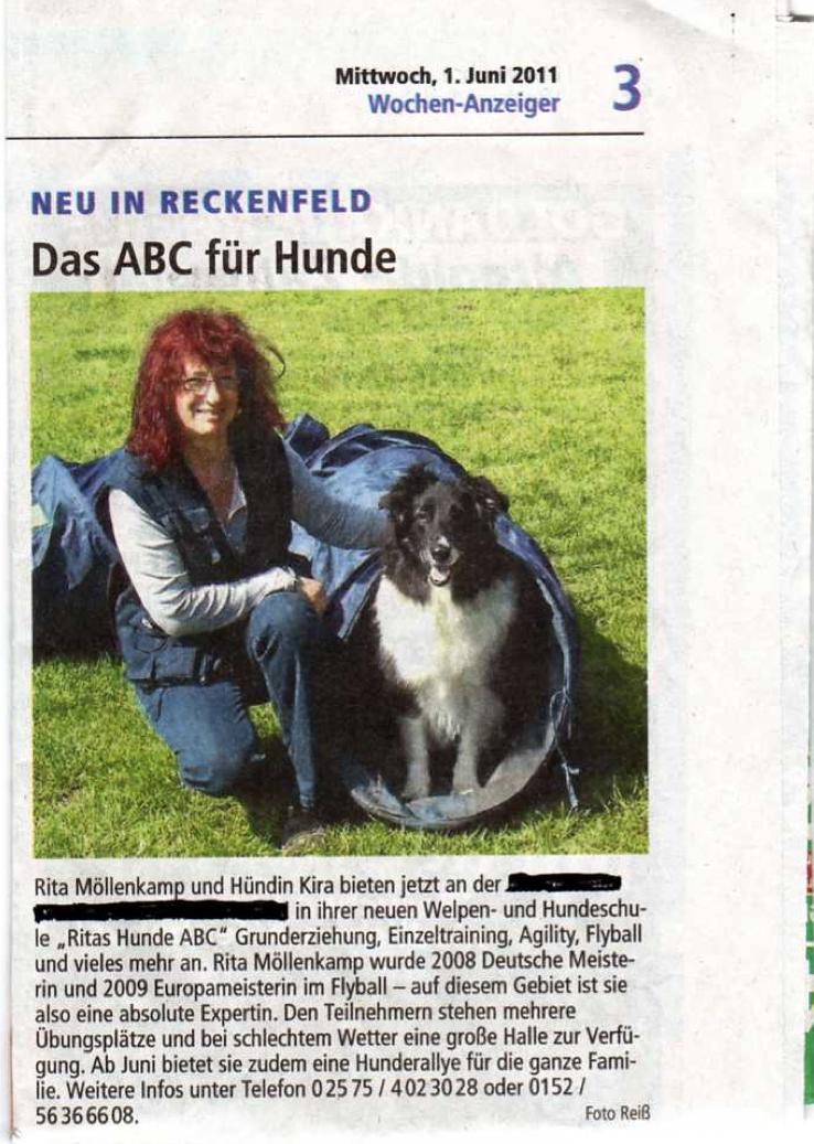 Öffentliche Wahrnehmung der Hundeschule in Greven
